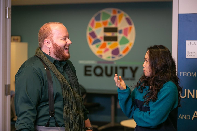 Matt Banks and Minerva in Equity Office.'