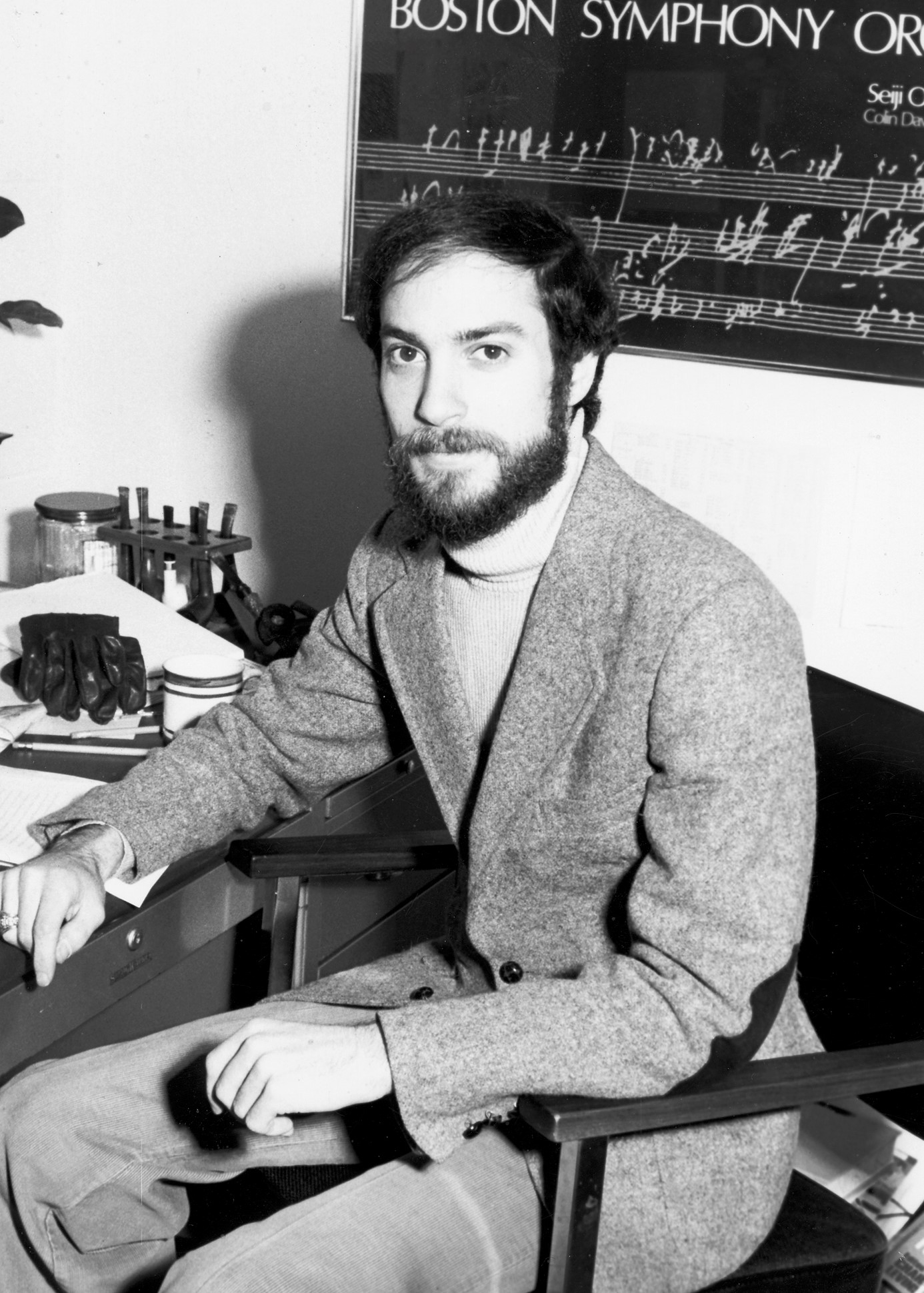 Professor Aaron Nurick in his office at Bentley, circa 1980