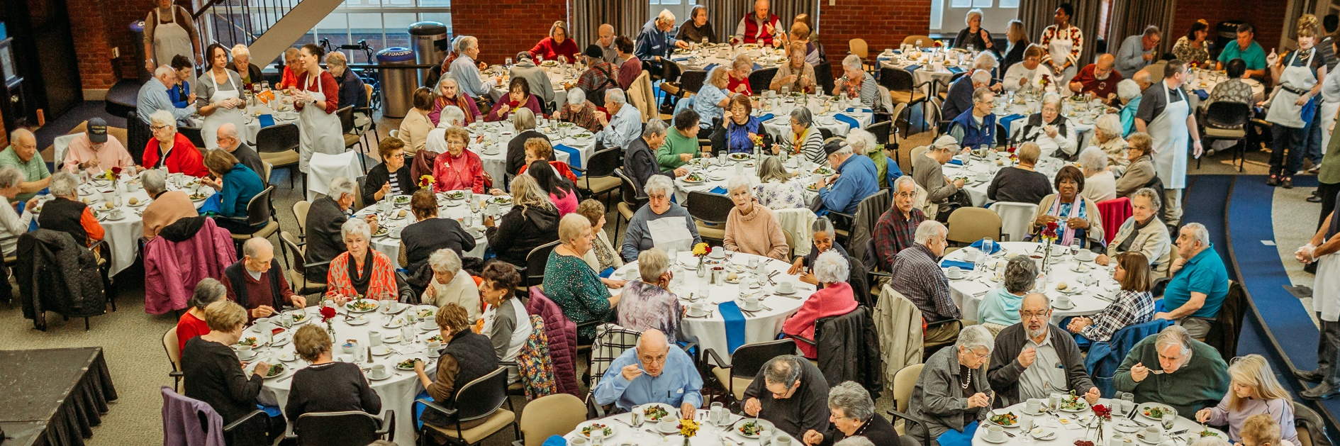 Thanksgiving luncheon for senior citizens at Bentley University