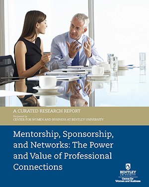 CWB Mentorship/Sponsorship Research Report Cover with a male mentor having a discussion at conference table with his female mentee