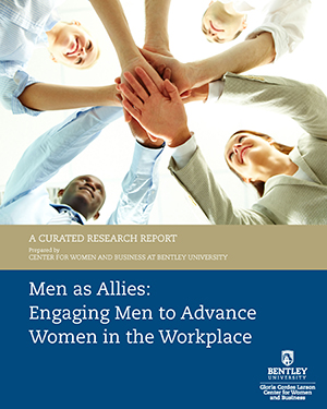 CWB Men as Allies Research Report cover people smiling with all hands in an overlapping circle supporting each other