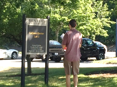 man standing on campus