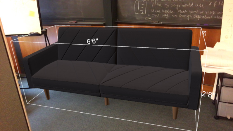 picture of chair and dimensions on app