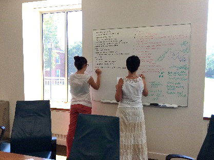 two people working at whiteboard
