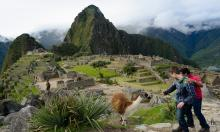 two students study abroad and visit machu picchu