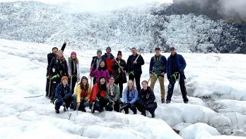 Bentley University students on a glacier in Iceland