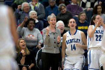 Bentley University women's basketball coach Barbara Stevens