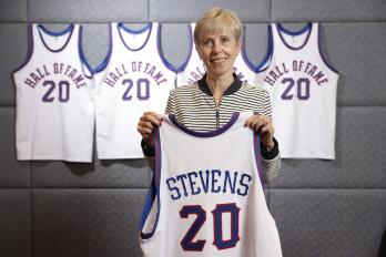 Barbara Stevens Enshrinement with Jersey