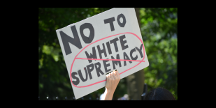 No to white supremacy sign